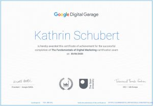 Google Zertifikat für Kathrin Schubert